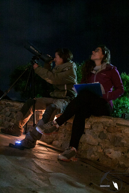 Barabara and Elisavet during recording migratory birds by Moon-watching